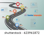 design template  road map... | Shutterstock .eps vector #623961872