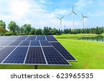 wind turbines and solar panels... | Shutterstock . vector #623965535