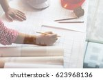architect or engineer working... | Shutterstock . vector #623968136