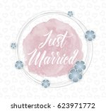just married  vector card... | Shutterstock .eps vector #623971772