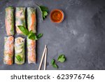 fresh assorted spring rolls set ... | Shutterstock . vector #623976746