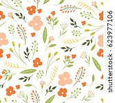 seamless vector floral pattern | Shutterstock .eps vector #623977106