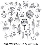 vector set of hand drawn trees  ... | Shutterstock .eps vector #623981066