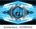 safety concept  closed padlock... | Shutterstock .eps vector #623985542