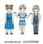 cute little girls standing in... | Shutterstock . vector #623989088