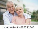 senior couple embracing in... | Shutterstock . vector #623991548