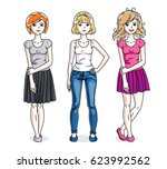 happy young adult girls female... | Shutterstock . vector #623992562