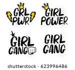 set of feminist slogans and... | Shutterstock .eps vector #623996486