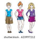 happy cute young women group... | Shutterstock . vector #623997212
