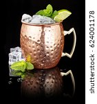 frosty moscow mule in a copper... | Shutterstock . vector #624001178
