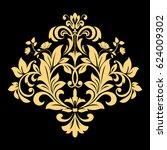 golden vector pattern on a... | Shutterstock .eps vector #624009302