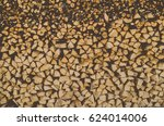 Woodpile In Woodshed Close Up....