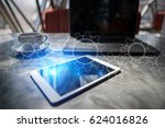 gears on virtual screen.... | Shutterstock . vector #624016826