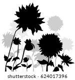 dalia flowers silhouette  vector   Shutterstock .eps vector #624017396