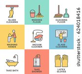 icons for cleaning rooms and... | Shutterstock .eps vector #624018416