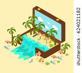 isometric beach vacation... | Shutterstock .eps vector #624021182