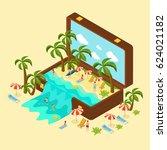 isometric beach vacation...   Shutterstock .eps vector #624021182