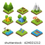 isometric traveling camping... | Shutterstock .eps vector #624021212