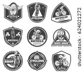 monochrome cycling labels set...   Shutterstock .eps vector #624021272