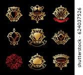 royal symbols  flowers  floral...   Shutterstock . vector #624037526
