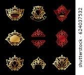 royal symbols  flowers  floral...   Shutterstock . vector #624037532