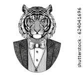 wild tiger hipster animal hand...   Shutterstock . vector #624041696