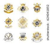 royal symbols  flowers  floral... | Shutterstock . vector #624041852