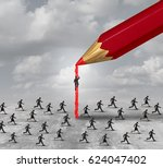 succeed in business concept as... | Shutterstock . vector #624047402