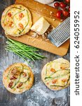 mini pizza with asparagus.... | Shutterstock . vector #624055952