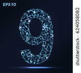 the letter 9 consists of points ... | Shutterstock .eps vector #624058082