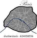 paris map vector illustration  | Shutterstock .eps vector #624058556