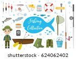 fishing icon set  flat  cartoon ... | Shutterstock .eps vector #624062402