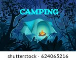 tent with bonfire on dark night ...   Shutterstock .eps vector #624065216