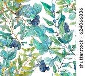 watercolor beautiful floral... | Shutterstock . vector #624066836