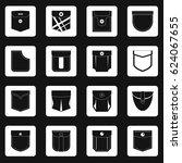 denim pocket icons set in white ...   Shutterstock .eps vector #624067655