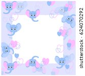 blue  elephants  frame  | Shutterstock .eps vector #624070292