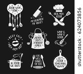 hand drawn kitchen quotes set.... | Shutterstock .eps vector #624073856