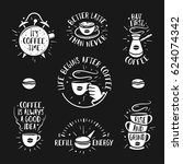 hand drawn doodle style coffee... | Shutterstock .eps vector #624074342