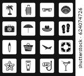 summer rest icons set in white... | Shutterstock .eps vector #624074726