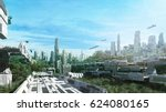 3d rendering scifi lost city in ... | Shutterstock . vector #624080165