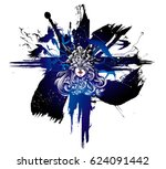 the valkyrie at the starry sky  ... | Shutterstock .eps vector #624091442