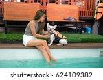 a asian girls perfect body tan... | Shutterstock . vector #624109382