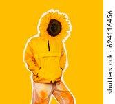 girl summer sunflower minimal... | Shutterstock . vector #624116456