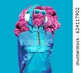 girl dj mix techno dubstep... | Shutterstock . vector #624117902