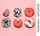 mix donuts. assorted. fashion... | Shutterstock . vector #624118136