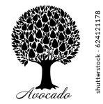 avocado tree isolated on white...   Shutterstock . vector #624121178