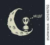 funny alien astronaut standing... | Shutterstock .eps vector #624140702