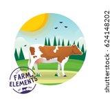farm cartoon cow illustration.... | Shutterstock .eps vector #624148202