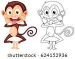 doodle animal for monkey... | Shutterstock .eps vector #624152936