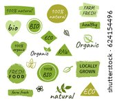 bio  ecology  organic logos and ... | Shutterstock .eps vector #624154496